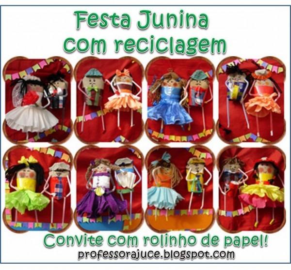 Professora juce  convite para festa junina com material reciclado