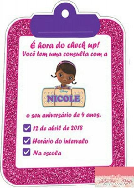 Convite impresso doutora brinquedos no elo7