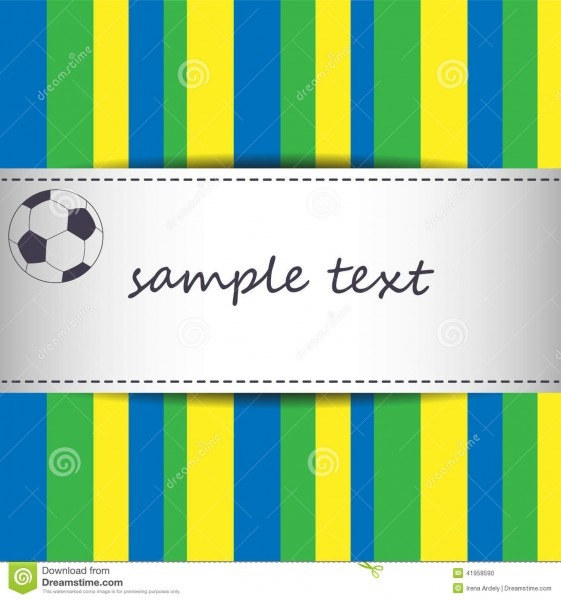 Fundo do cartão do convite com bola do futebol e listrado usando