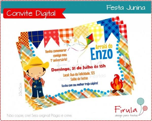Galeria de convite festa junina editavel digital menino no elo7
