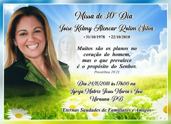 Joise kelmy – convite missa de 30 dias  – portal de notícias