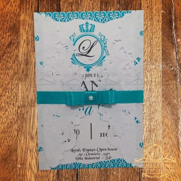 Kit 20 convites 15 anos rendado azul tiffany lindo criativo