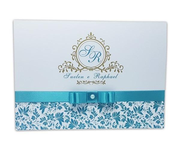 Kit 65 convites casamento azul tiffany e dourado