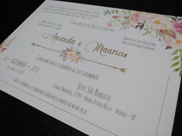 Lindo convite de casamento sem envelope 100 unid barato