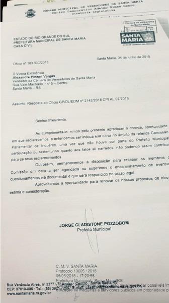 CÂmara  prefeito jorge pozzobom recusa convite e não vai prestar