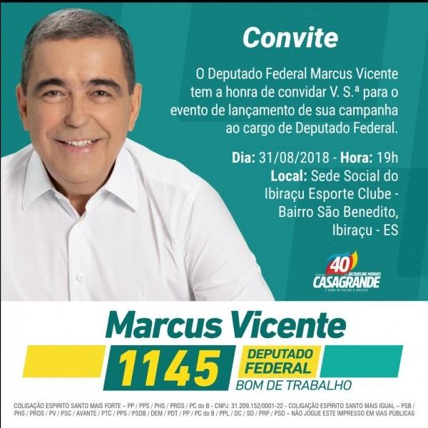 Agenda eleiÇÕes 2018 l convite – o deputado federal marcus vicente