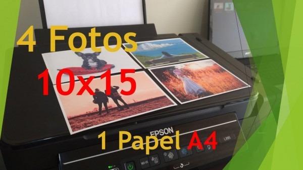 Imprimindo 4 fotos 10x15 em papel a4