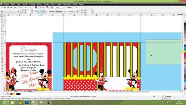 Corel draw convite aniversário infantil tema minie e mickey mouse