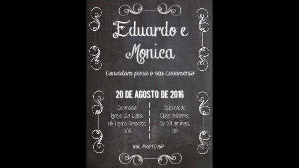 Convite quadro negro