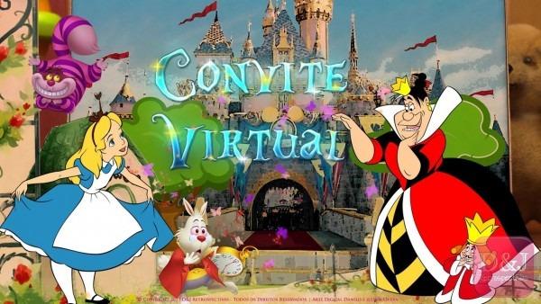 Convite virtual alice no país das maravilhas