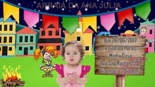 Convite virtual de aniversário tema festa junina