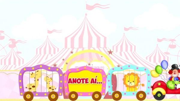 Convite animado virtual circo rosa