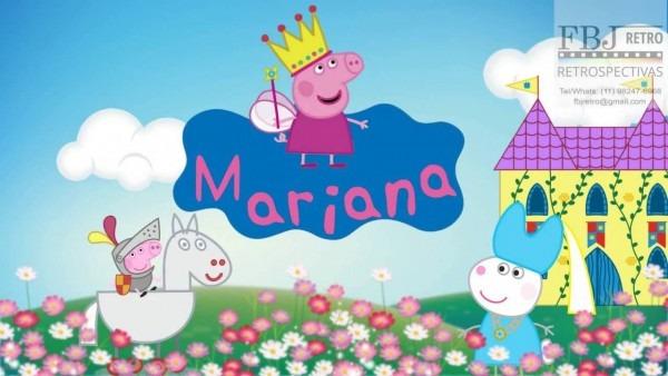 Convite animado peppa pig princesa da mariana 3 aninhos