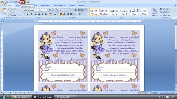 Maria carlotinha ateliê  imprimindo convites usando o microsoft word