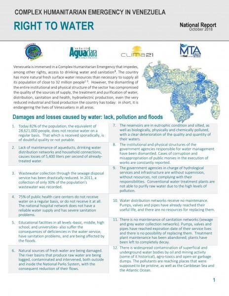 National report about the right of water in venezuela by convite