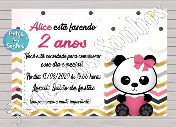 PromoÇÃo convite panda menina 1 no elo7