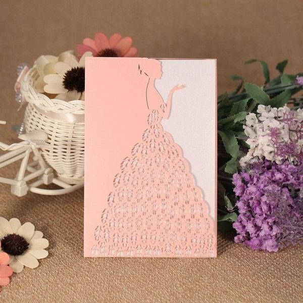 Compre cartão de convite de casamento padrão nupcial laser cut