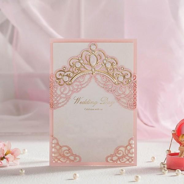Compre royal pink cartões de convites de casamento de corte a