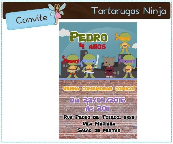 Convite tartarugas ninja