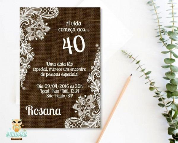 Tend ncia convite de aniversario 35 anos convite anivers rio 40