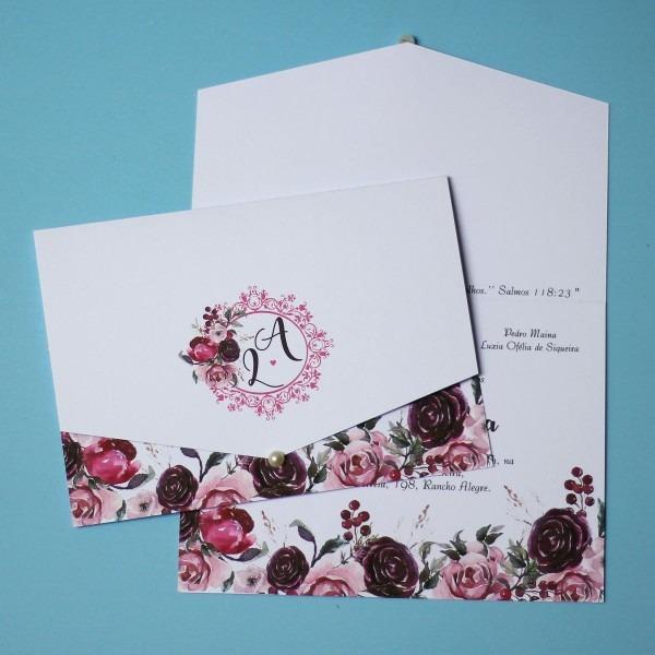 03 convites casamento marsala rosa chá barato simples lindo