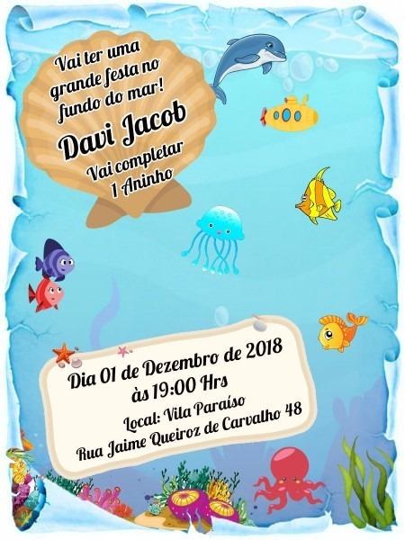 100 convite pergaminho fundo do mar