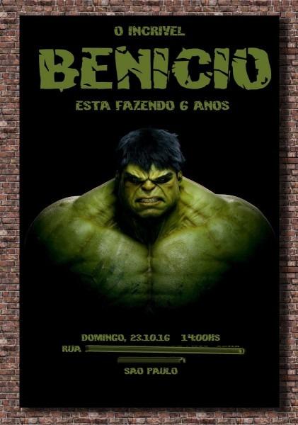 10 convite hulk verde 10x15  frete gratis  ju uva