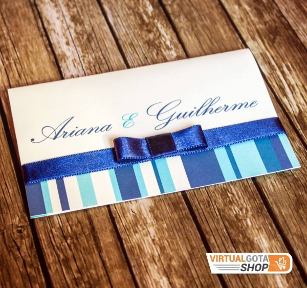 10 convites de casamento idéias listras letras cores em azul