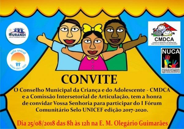 Convite cmdca para o 1º selo unicef