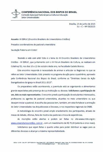 Carta convite para o iii ebruc na fcb em colatina