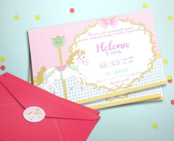 20 convite aniversário festa carrossel rosa + etiq + env