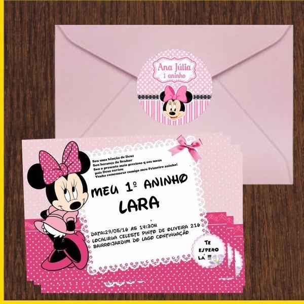 20 convite minnie rosa 10x15 com envelopes apenas 1,50 unid