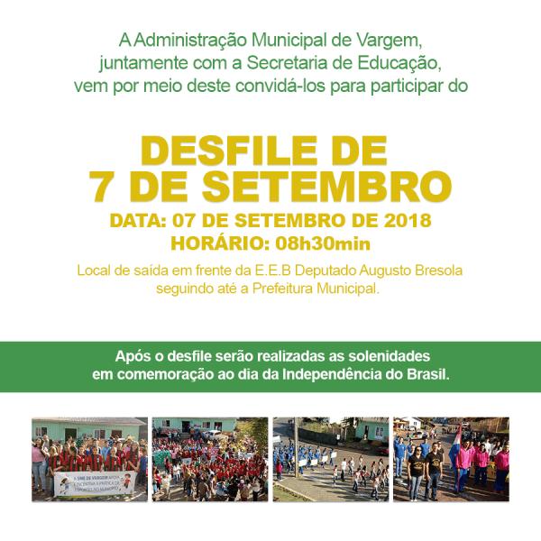 Convite desfile de 7 de setembro