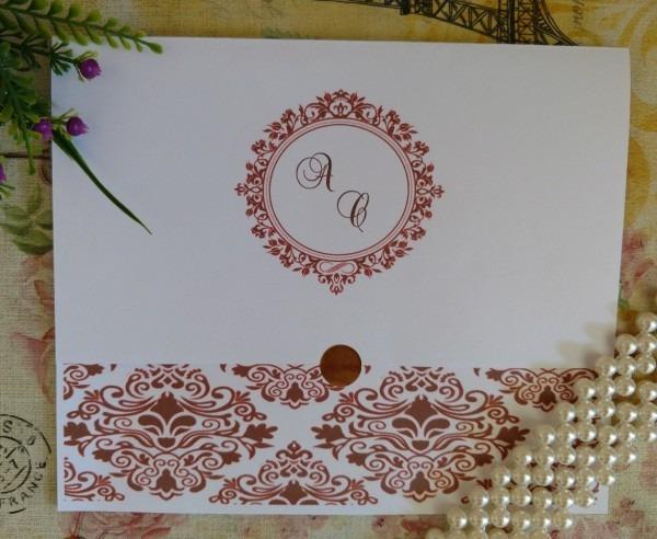 272 convites de casamento arabesco diversas cores r$ 1,10 cd