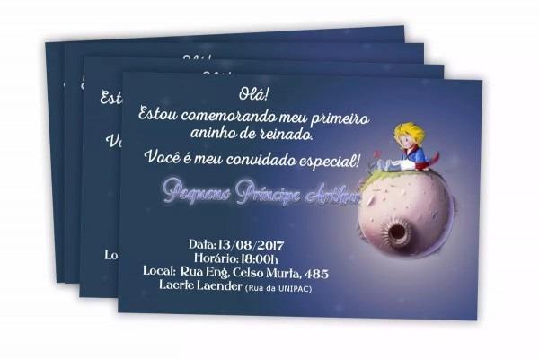 30 convite de aniversário pequeno príncipe 7x10 cm