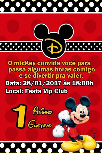 30 convite mickey festa infantil tamanho 10x15 envio rapido