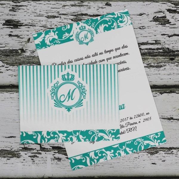 30 convites de 15 anos barato monograma verde agua arabesco