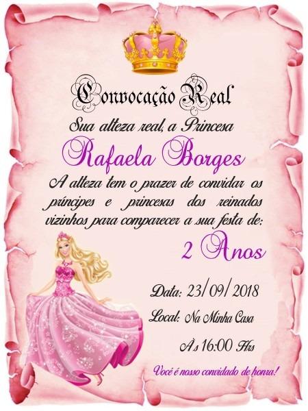 30 convites pergaminho barbie princesa