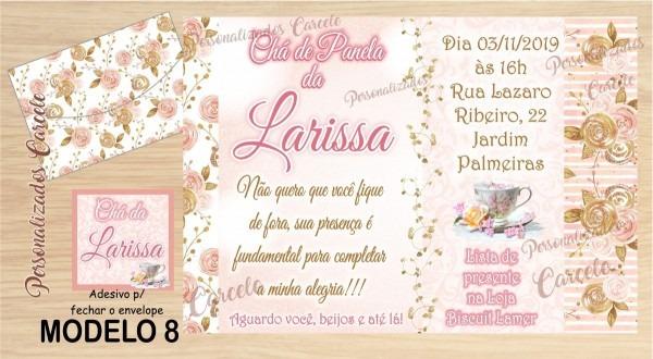 32 convites chá de cozinha + envelope + etiqueta