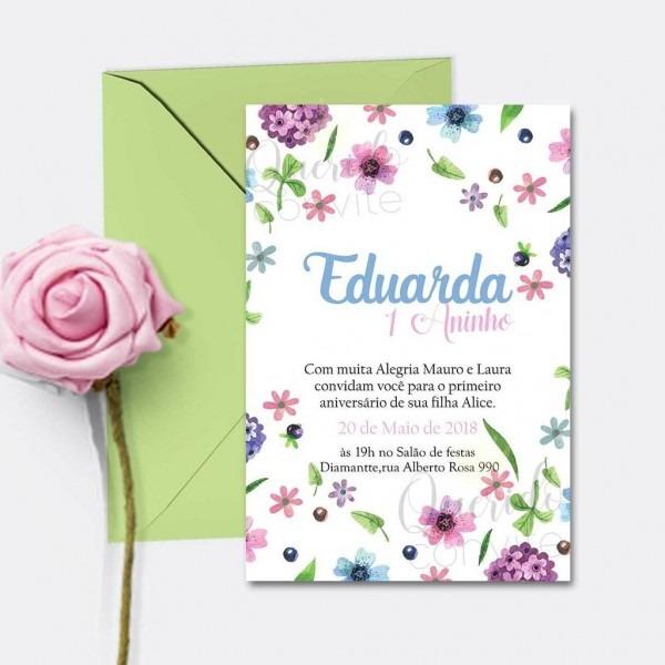 Convite infantil flores