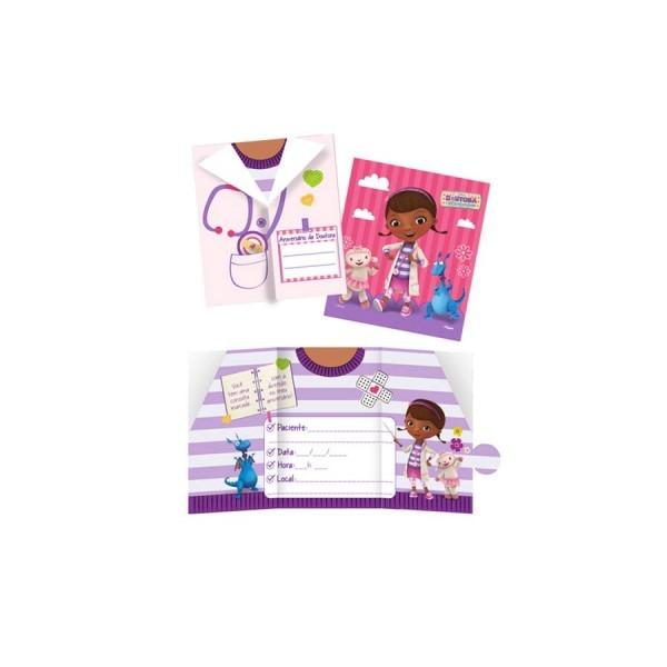 Convite de aniversário doutora brinquedos 08 unidades regina