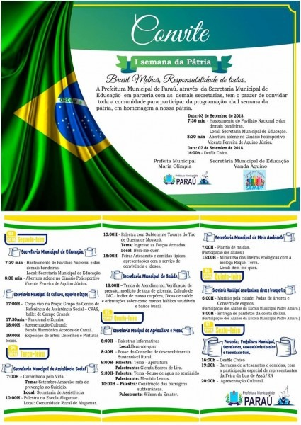 Coelho fatos e notícias  i semana da pátria; convite prefeitura
