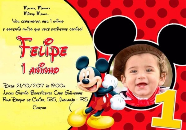40 convites mickey com foto infantil personalizado festas