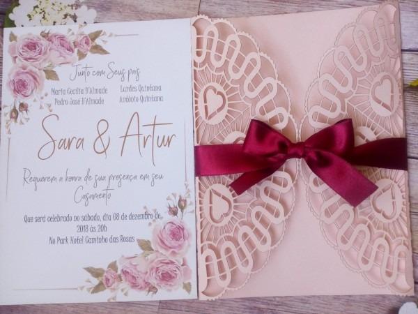 50 convite de casamento romântico corte laser rendado 15 an