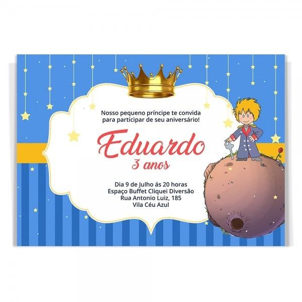 50 convites + 50 tags aniversário pequeno príncipe + brinde