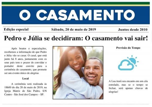 50 convites casamento jornal + 150 individuais