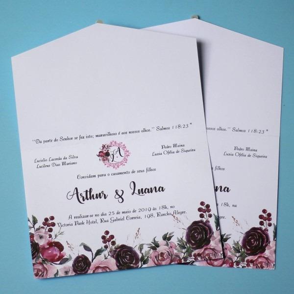 50 convites de casamento noivado marsala rosa simples barato