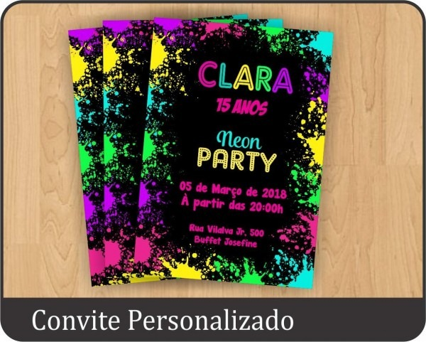 50 convites personalizados festa neon aniversário 15 anos
