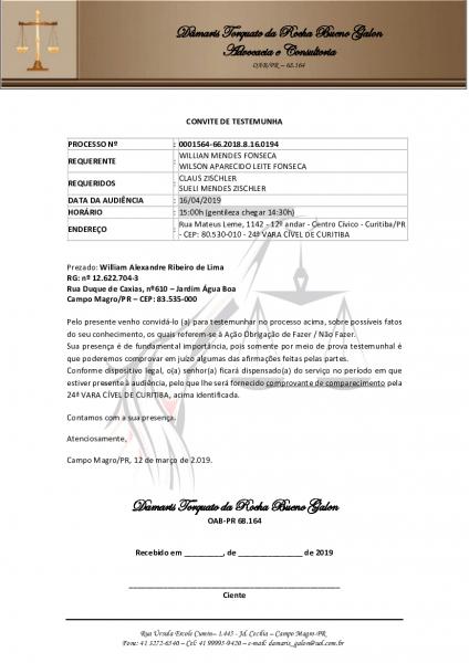 Carta convite testemunhas