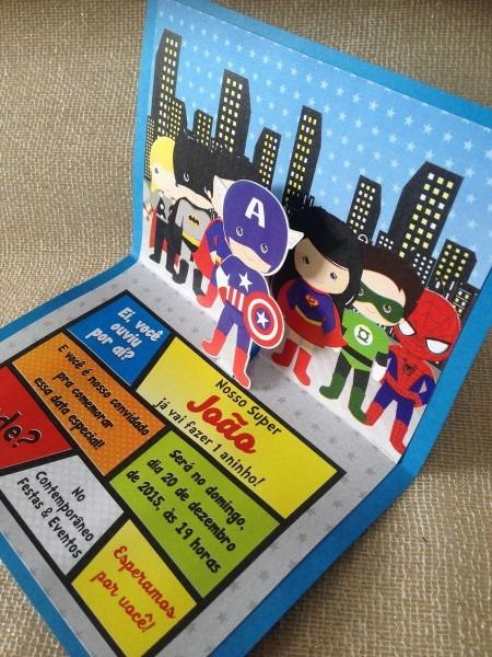Convite super heróis pop up